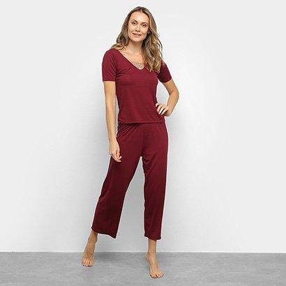Pijama Longo Lupo Capri Renda Feminino