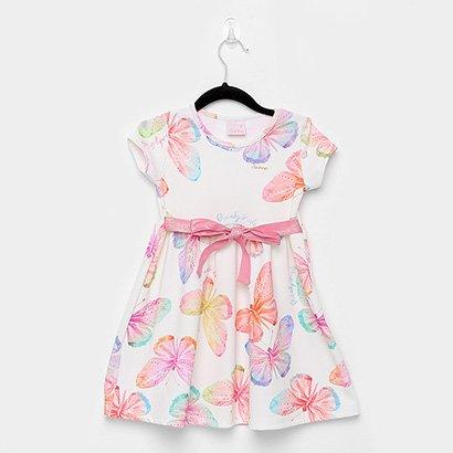 Vestido Infantil Quimby Jacquard Borboleta Laço