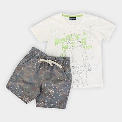 Conjunto Infantil Quimby Camiseta Malha Bermuda Moletom Lideration Moment