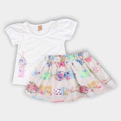 Conjunto Infantil Up Baby Blusa E Shorts Saia Floral Feminino