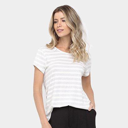 Camiseta Colcci Listrada Lurex Feminina
