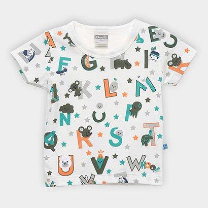 Camiseta Infantil Kamylus Meia Malha Alfabeto