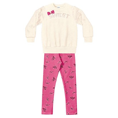 Conjunto Moletom Infantil Fakini Estampa Floral Detalhe Laço Feminino