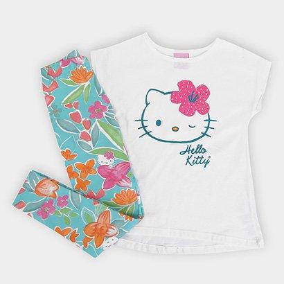 Conjunto Infantil Hello Kitty Blusa Malha Calça Cotton
