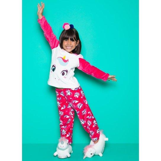 4a7c5d8b8 Pijama Infantil Puket Soft Unicórnio Feminina - Branco+Pink