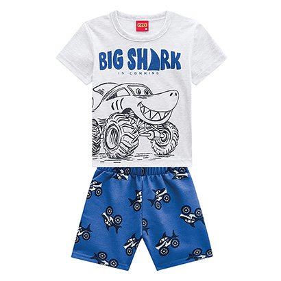 Conjunto Infantil Kyly Camiseta E Bermuda Moletom Big Shark Masculino