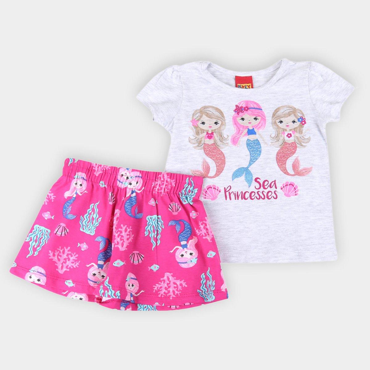 Conjunto Bebê Kyly Malha Sereias Camiseta + Short Feminino