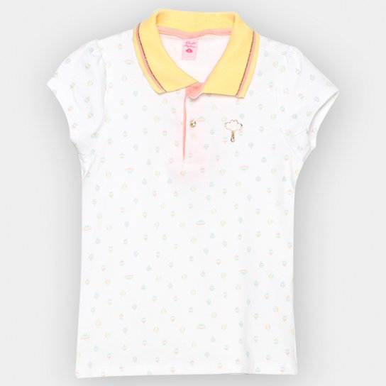 00e0af6aa5 Camisa Polo Infantil Lilica Ripilica Estampada Feminina - Off White ...