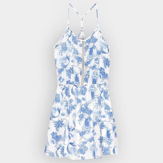 c823e99ce2 Vestido Colcci Fun Alça Estampado Infantil - Off White+Azul
