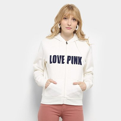 Jaqueta Moletom Queen's Love Pink Pêlo Dentro Feminina