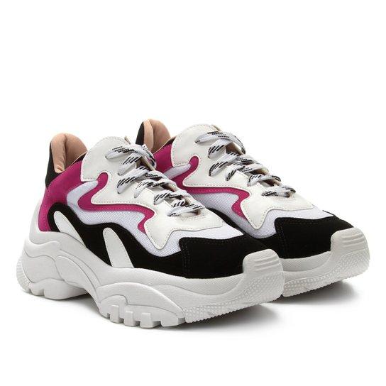 805d49146 Tênis Zatz Chunky Recortes Feminino - Branco+Pink