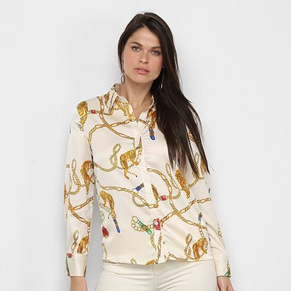 Camisa Manga Longa MS Fashion Correntes Feminina