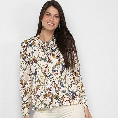 Camisa Manga Longa MS Fashion Cordas E Correntes Feminina