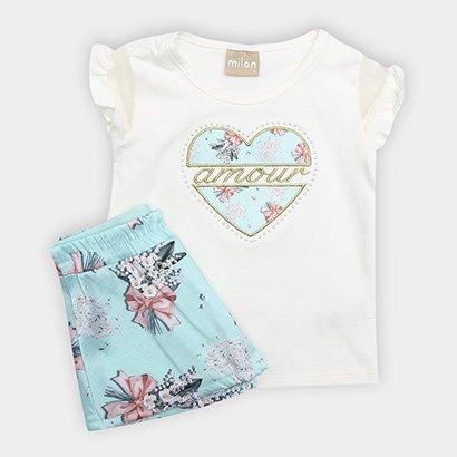 Conjunto Infantil Milon Floral Detalhe Bordado Feminino