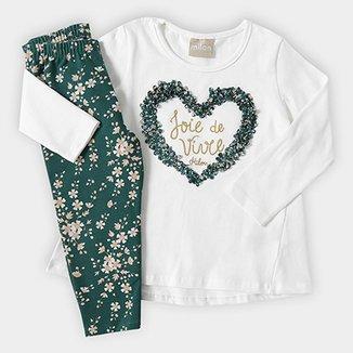 851120ec7 Conjunto Infantil Milon Longo Coração Feminino