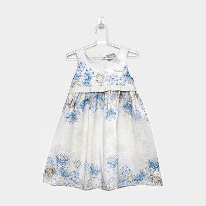 Vestido Infantil Milon Regata Evasê Tafetá Floral