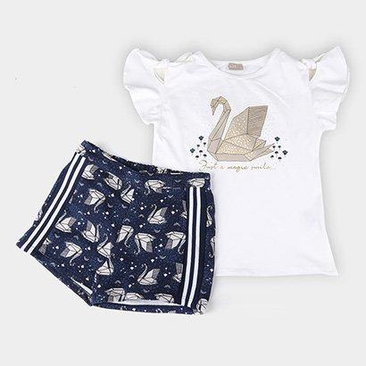 Conjunto Infantil Milon Origame Cotton+Short Moletom Feminino