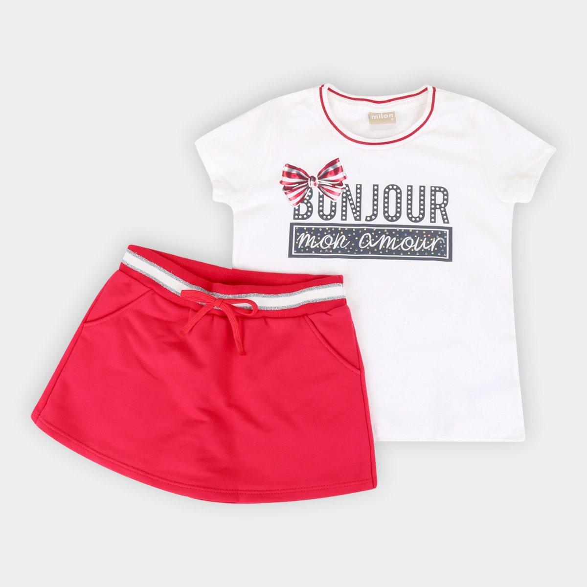Conjunto Infantil Milon Estampado Cotton Short-Saia Moletom Feminino