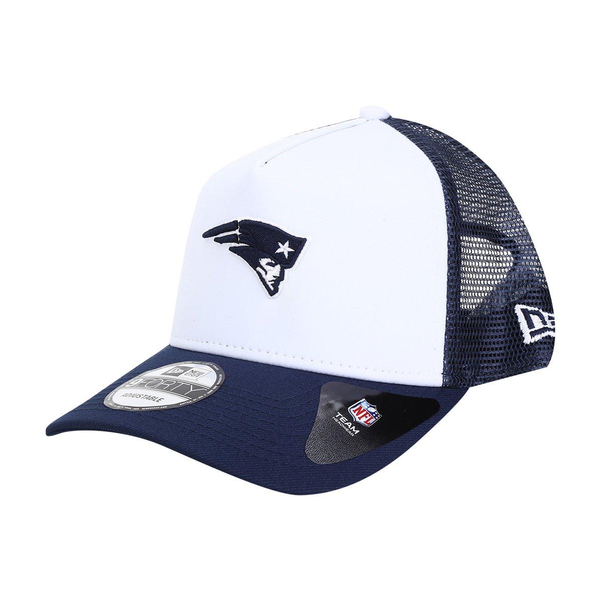 Boné New Era NFL New England Patriots Aba Curva Trucker 940 Af Sn 90's