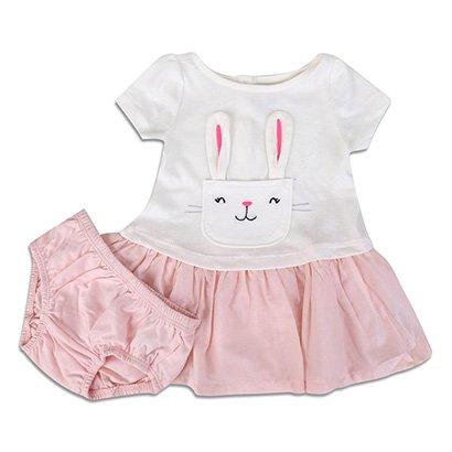 Vestido Infantil GAP Malha Coelhinho + Calcinha