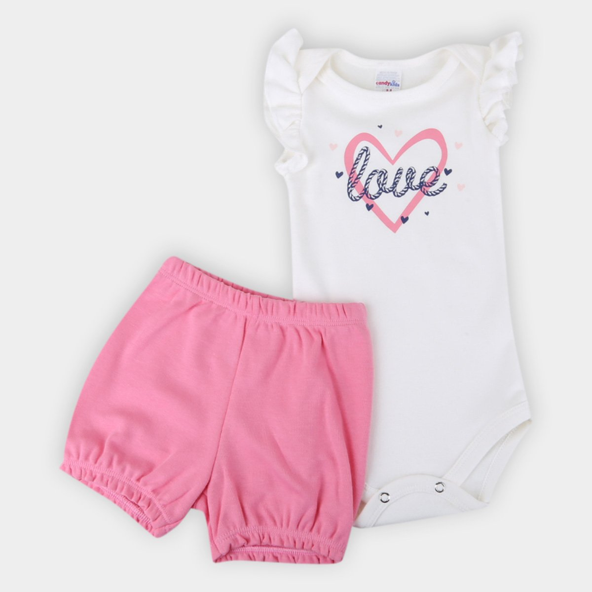 Conjunto Bebê Candy Kids Body E Shorts Suedine Love Feminino