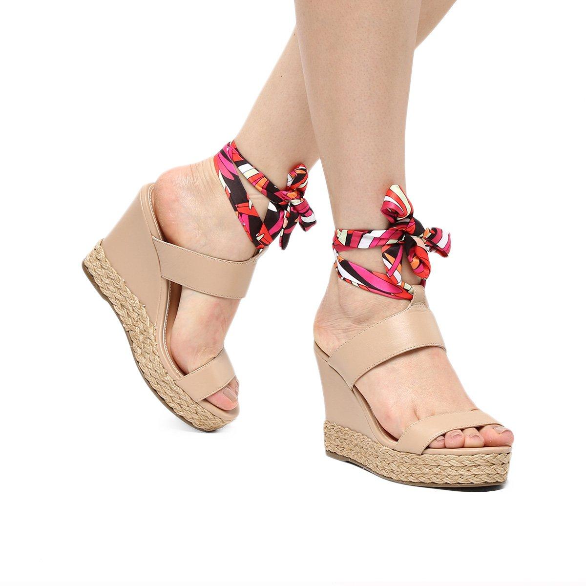 Foto 1 - Sandália Plataforma Shoestock Lenço Corda Feminina