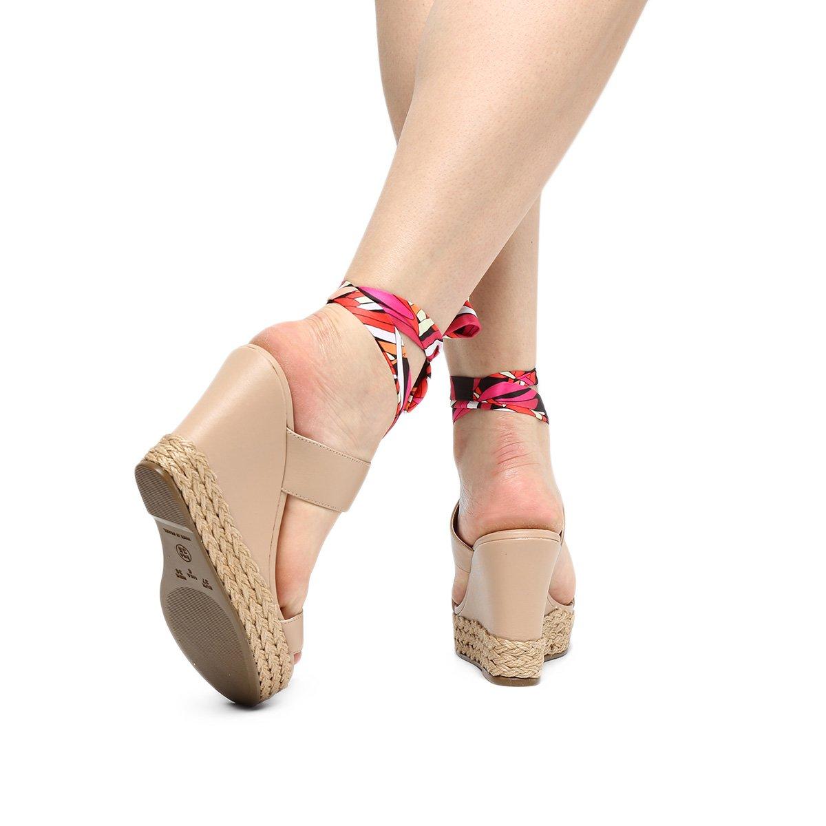 Foto 2 - Sandália Plataforma Shoestock Lenço Corda Feminina