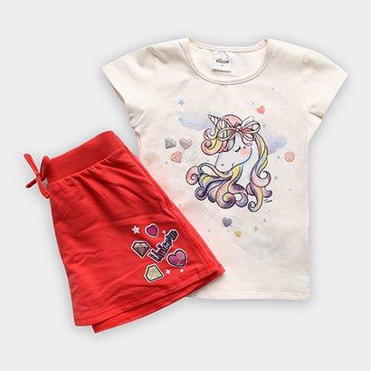 Conjunto de Blusa + Shorts Infantil Elian Feminino