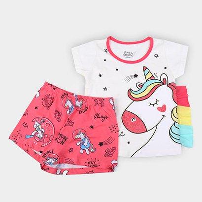 Pijama Infantil Elian Curto Unicórnio Brilha No Escuro Feminino