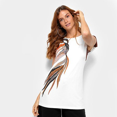 Camiseta com Ombreira Morena Rosa Folhagens Feminina