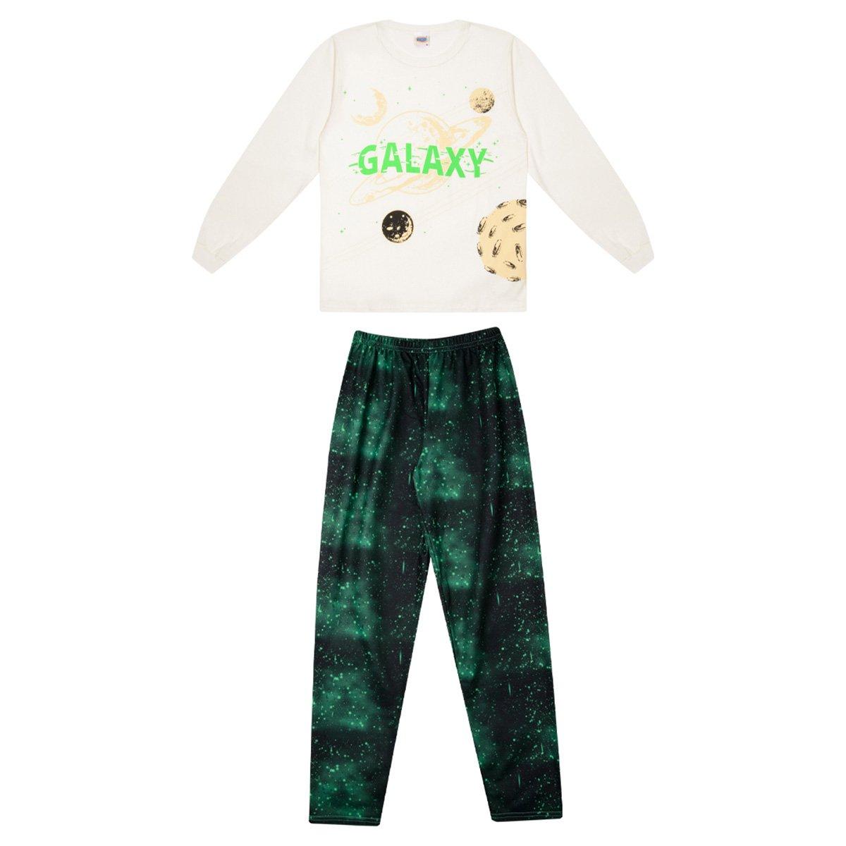 Pijama Longo Juvenil Duzizo Estampado Brilha No Escuro