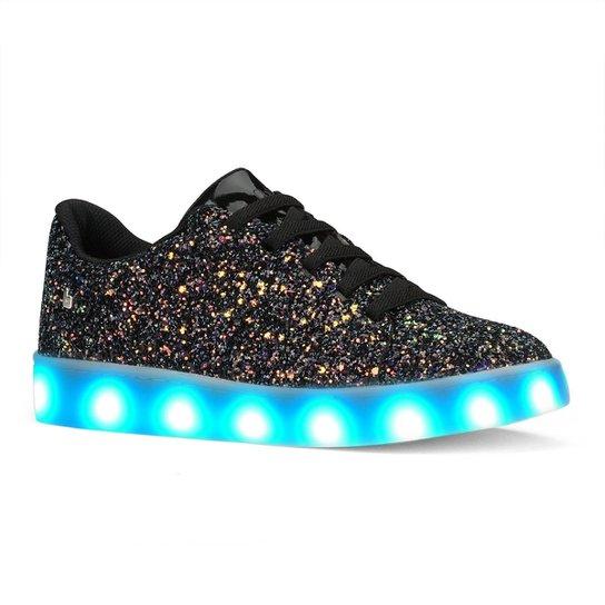 67158be60 Tênis De LED Infantil Bibi Clique-se Colors Glitter - Preto