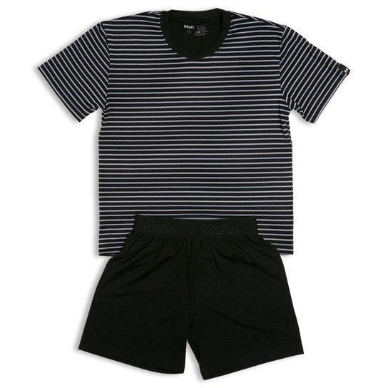0ef6b699f Pijama Infantil Mash Listrado Masculino - Preto - Compre Agora ...