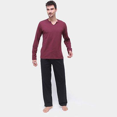 Pijama Longo Mash Cotton Manga Longa Com Elástico Embutido Masculino