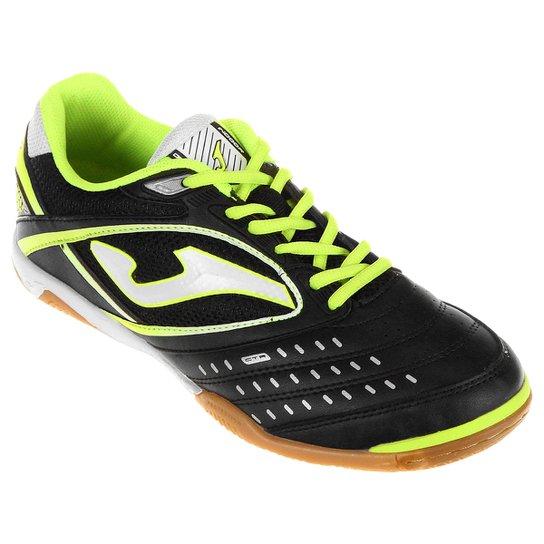 79b694aacd Chuteira Joma Dribling Futsal - Preto+Verde Limão