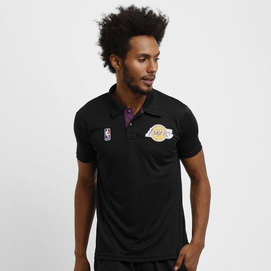 21aa0af881 Camisa Polo Basic NBA Los Angeles Lakers - Preto