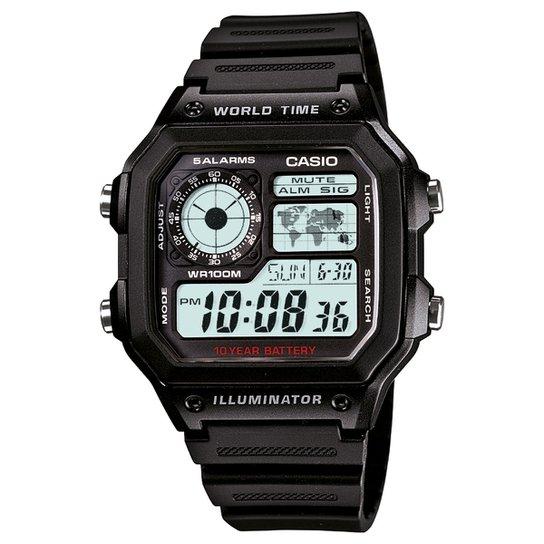 e25a5d5cdb7 Relógio Digital Casio AE-1200WH-1AVDF Masculino - Preto - Compre ...