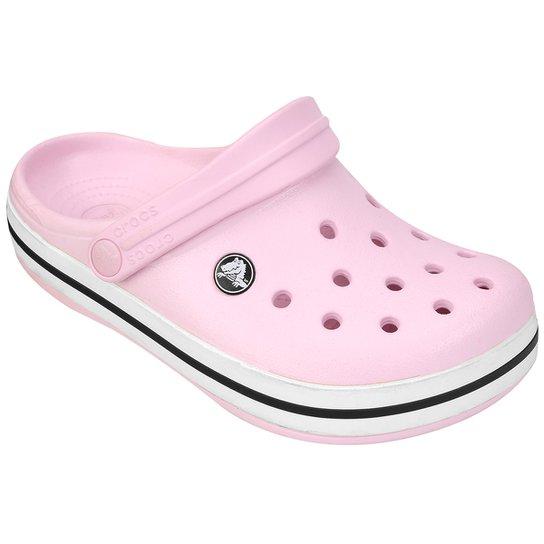 401f8a092314a Sandália Infantil Crocs Crocband - Rosa Escuro e Branco - Compre ...