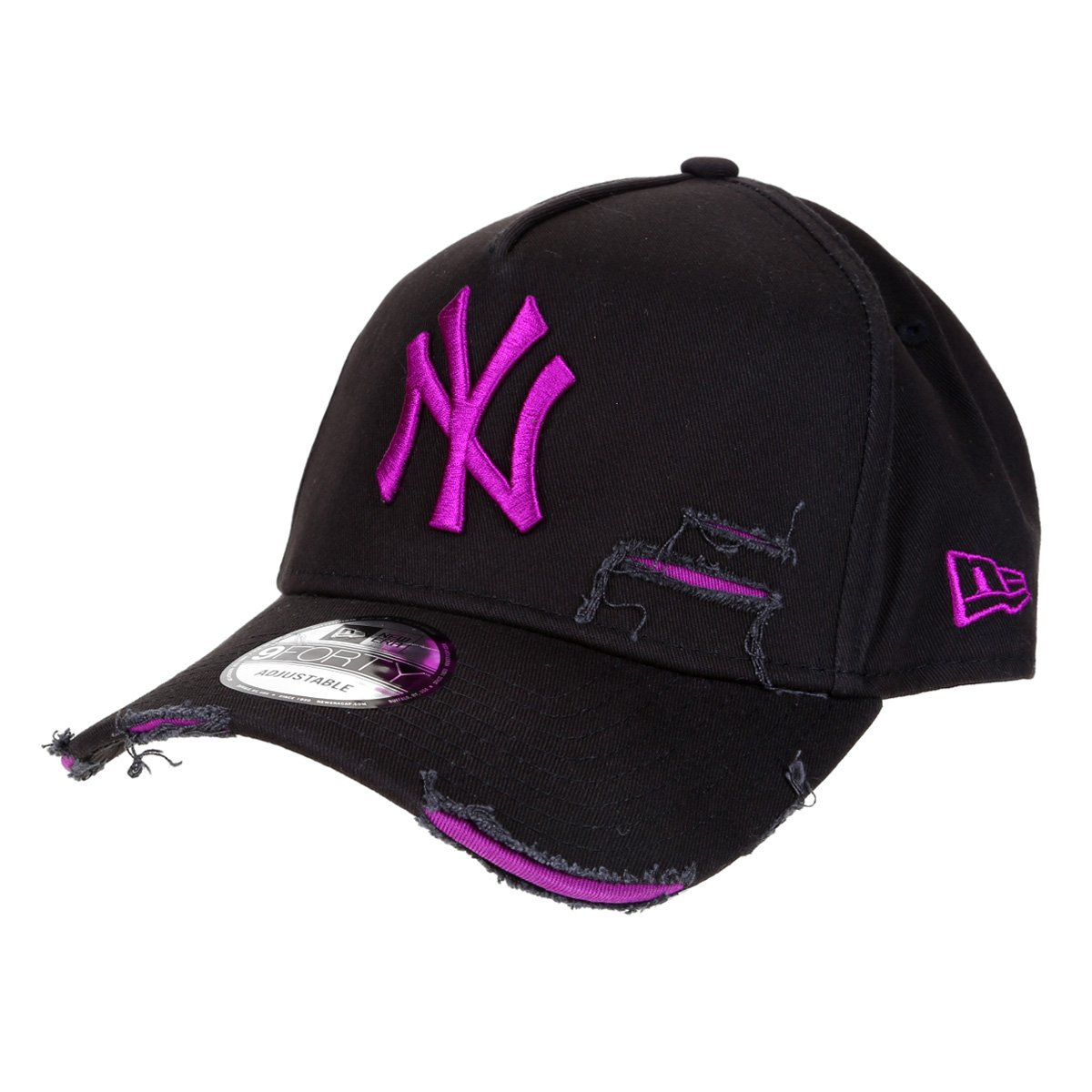 Boné New Era MLB New York Yankees Aba Curva Strapback A-Frame Destroyed 9Forty