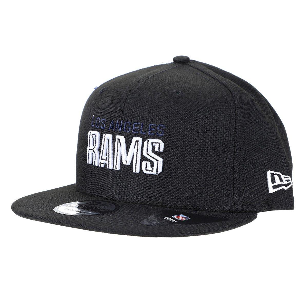 Boné NFL Los Angeles Rams New Era Aba Reta Snapback Draft Font 950 Blk