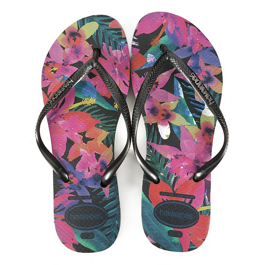 Sandália Havaianas Slim Tropical Feminina - Preto - Compre Agora ... 9655dca0c6e