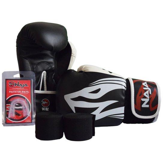 5058a2192 Kit Luva de Boxe Naja Extreme 10 oz + Bandagem + Protetor Bucal - Preto