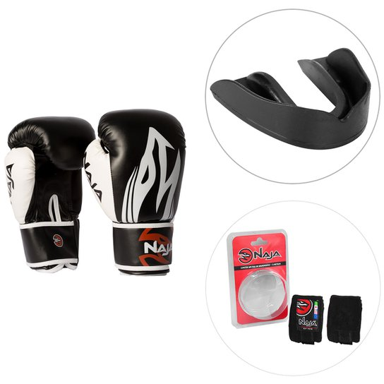 1426e426e Kit Luva de Boxe   Muay Thai Naja Extreme 12OZ + Protetor Bucal + Bandagem  Elástica