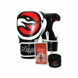 Kit Luva Boxe Muay Thai Naja OPP + Bandagem + Protetor Bucal 382375f4ea4c0