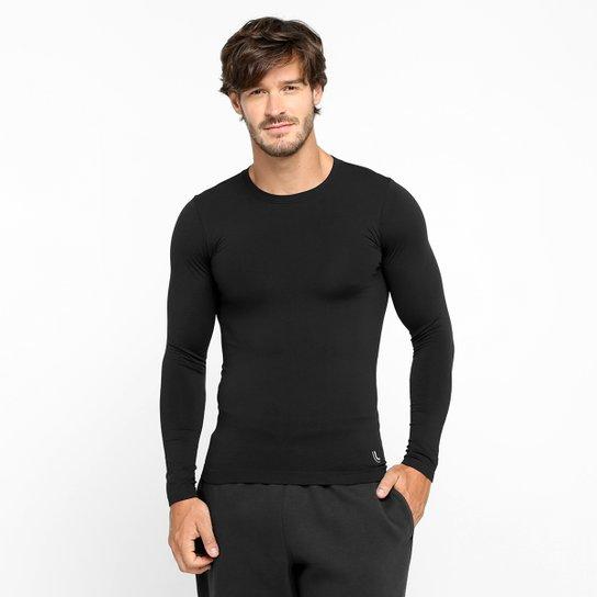 Camiseta Lupo Sport Com Proteção UV Manga Longa Masculina - Preto ... e3dccaad09a