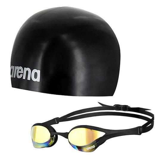 af3743e15 Kit Natação Touca 3D Ultra + Óculos Cobra Ultra Mirror Preto Arena - Preto