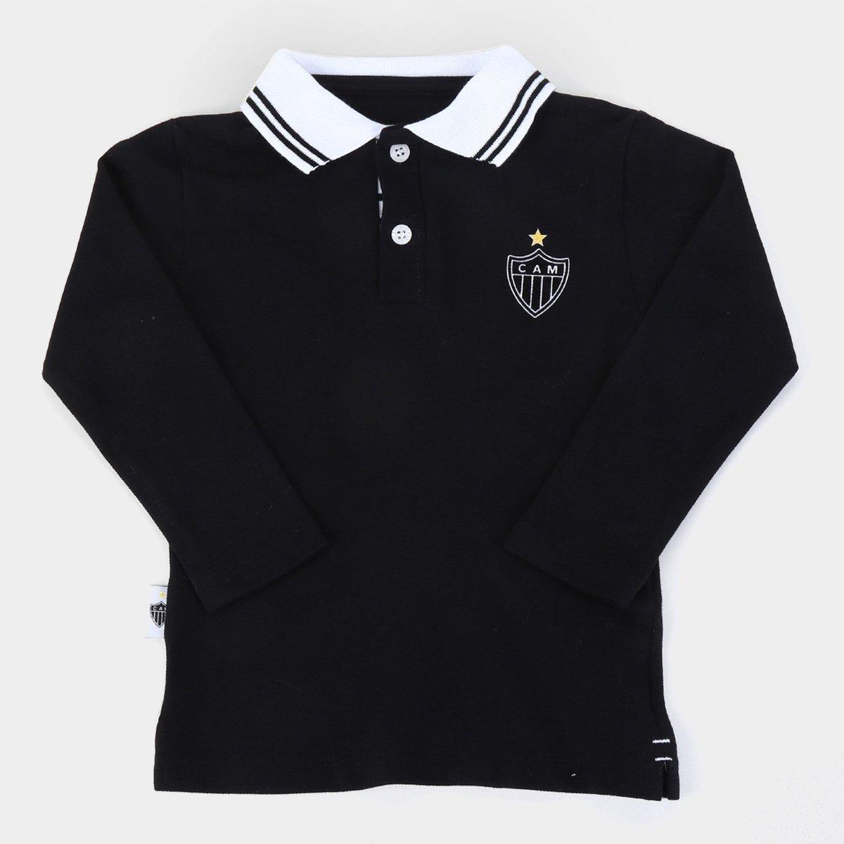 Camisa Polo Manga Longa Infantil Atlético Mineiro Piquet