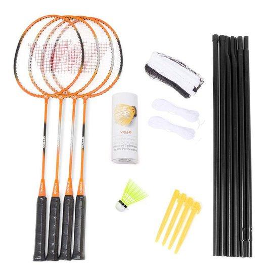 4ff4613de Kit Badminton Vollo - 4 Raquetes + 3 Petecas + Rede + Suporte - Laranja+