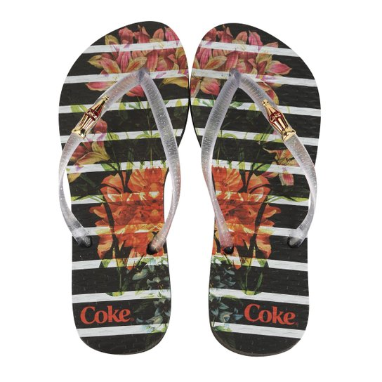a833669bc Chinelo Coca-Cola Bloom Stripes Feminino | Netshoes