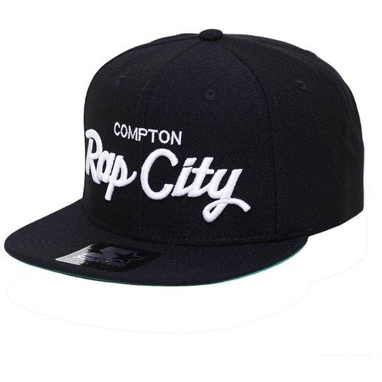 Boné Starter Aba Reta Snapback Compton Rap City - Preto - Compre ... bb83c5c4025